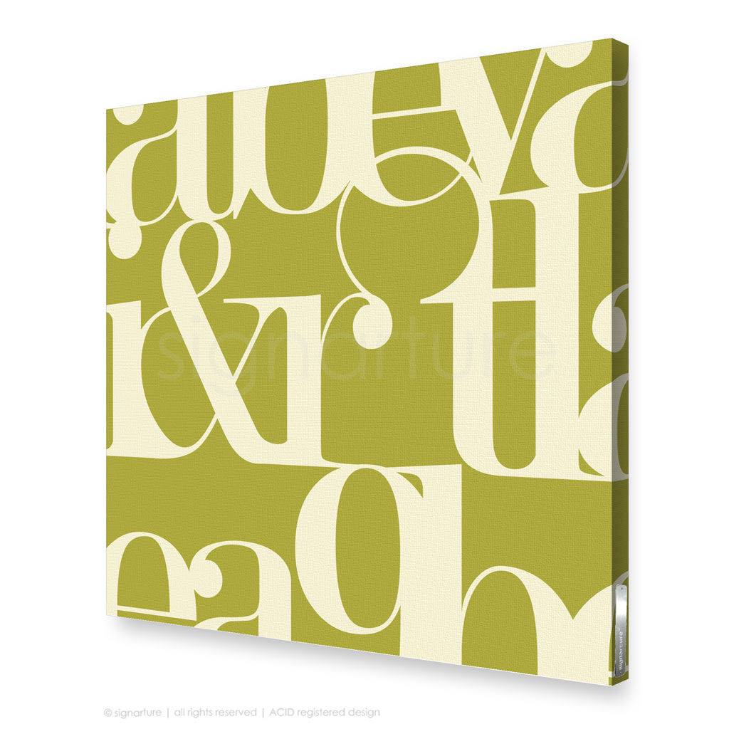 stretched canvas wall art modern typography green print | Signarture
