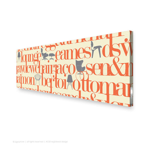 word canvas art west brompton orange panoramic