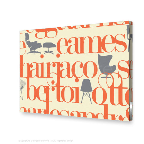 word canvas art west brompton orange rectangular