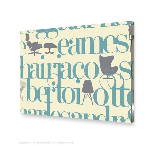 word canvas art west brompton blue rectangular