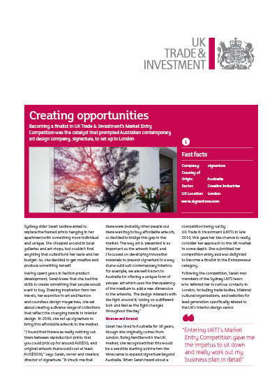 signarture case study by UKTI UK Trade and Investment