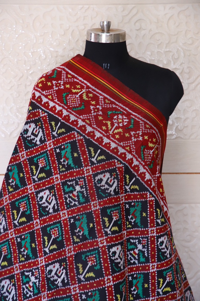 Semi double ikat dupatta in traditional Hathi Popat design in red and black colour