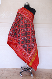 Semi double ikat dupatta in traditional Hathi Popat design in red and brown colour