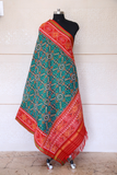 SEmi double ikat dupatta in Green and Red colour with traditional Manekchowk design