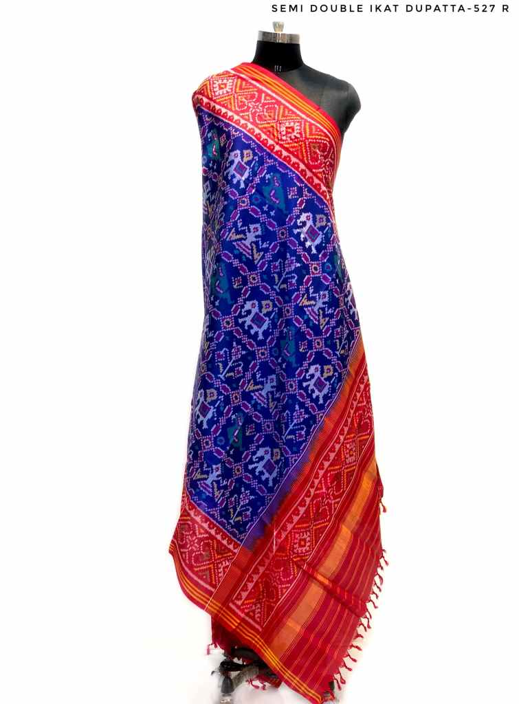 Semi double ikat dupatta in Blue and Red colour with traditional sankdi Hathi Popat design