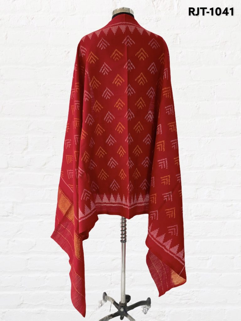 Red patola shawl with fancy design