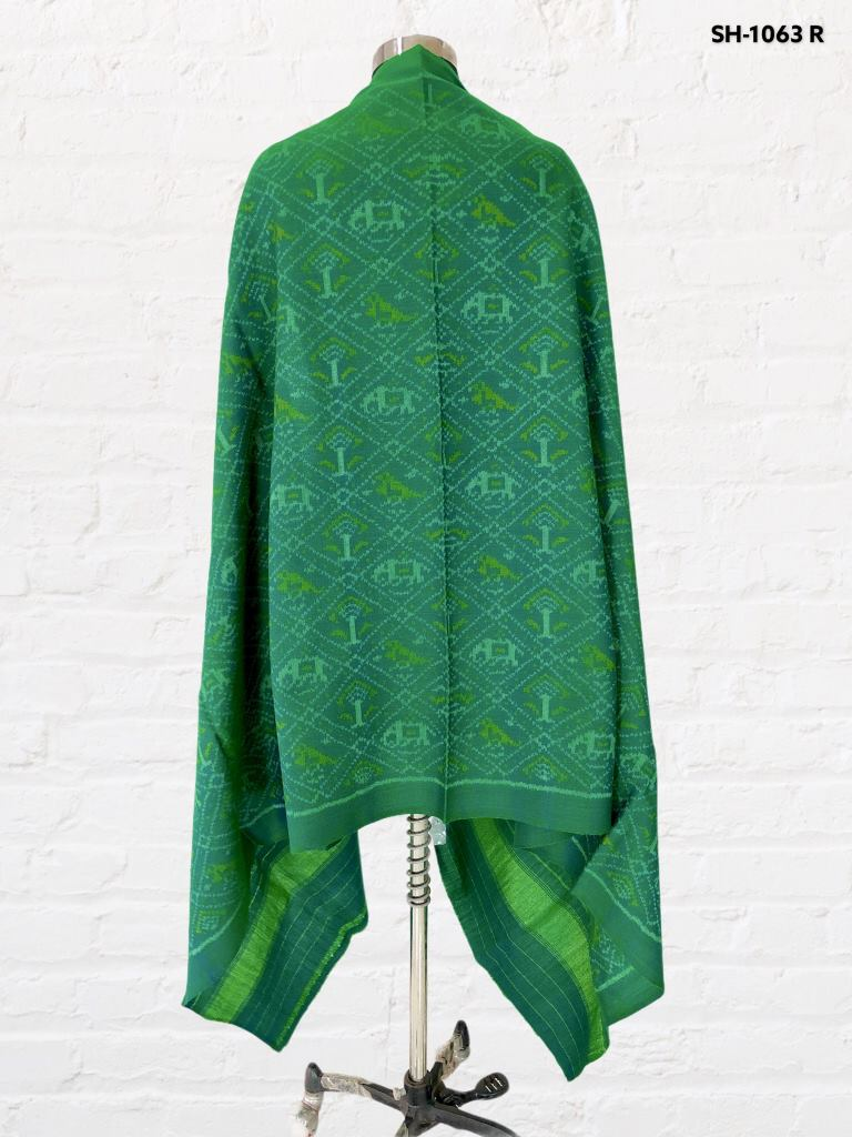 Traditional hathipopat design in dark see green colour