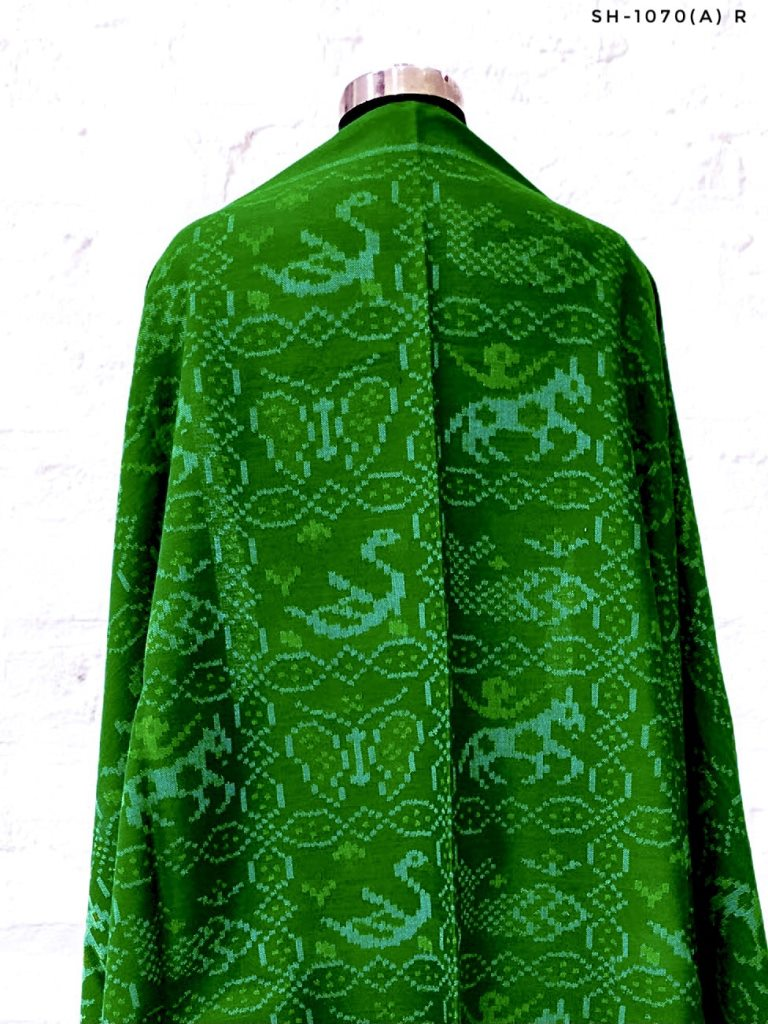Green patola shawl with multi figure design