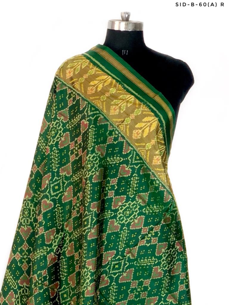 Green colour patola dupatta with manekchowk design
