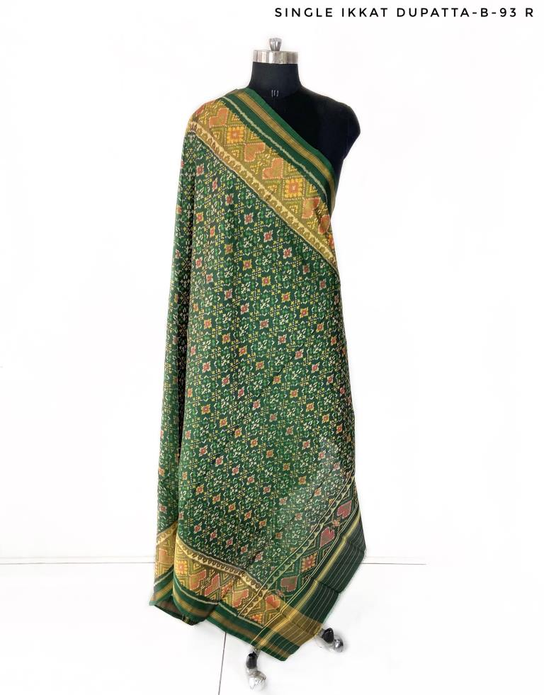 Traditional buttonful design in green colour Dupatta