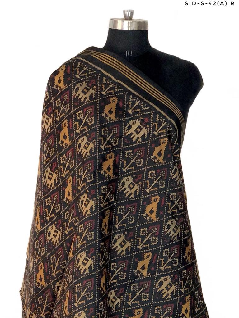 Traditional Hathi Popat Design in Black colour