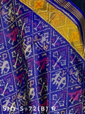 Traditional Narikunj design in dark blue colour
