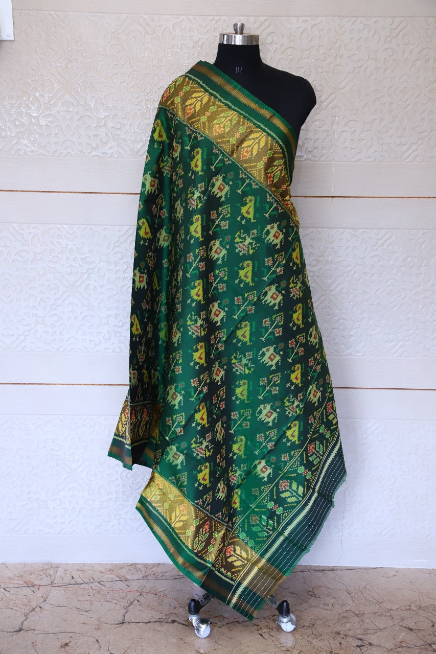 Patola Dupatta in traditional Hathipopat design green colour