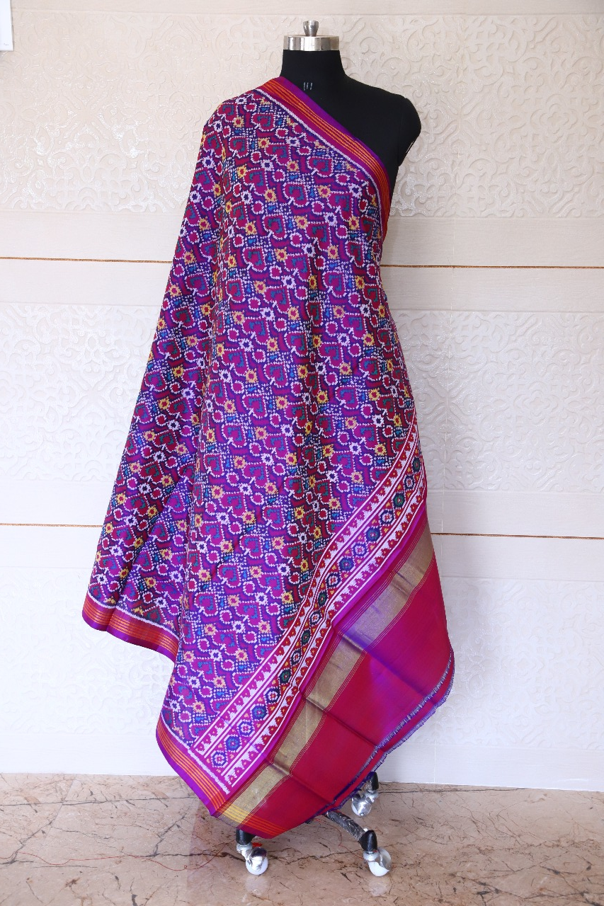 semi double ikat dupatta in Red and purple colour with fancy design