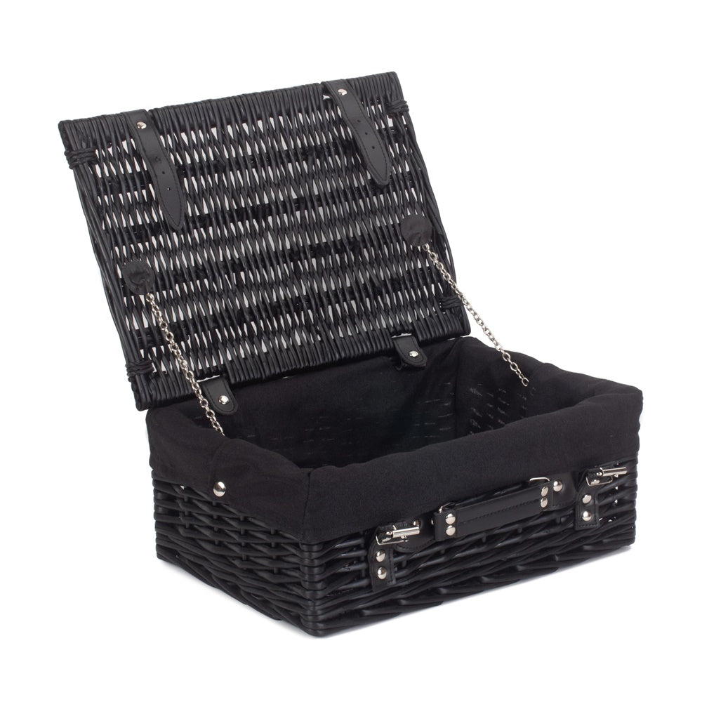 46cm Empty Black Willow Picnic Basket With Cotton Lining