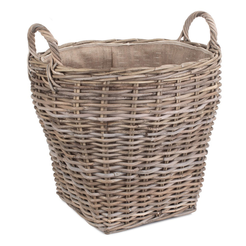 Amphora Rattan Log Basket with Hessian Lining