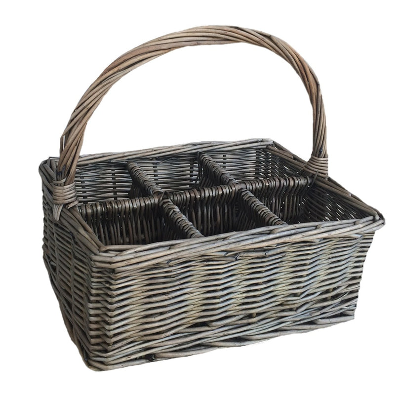 Antique Wash Rectangular 6 Section Cutlery Wicker Basket