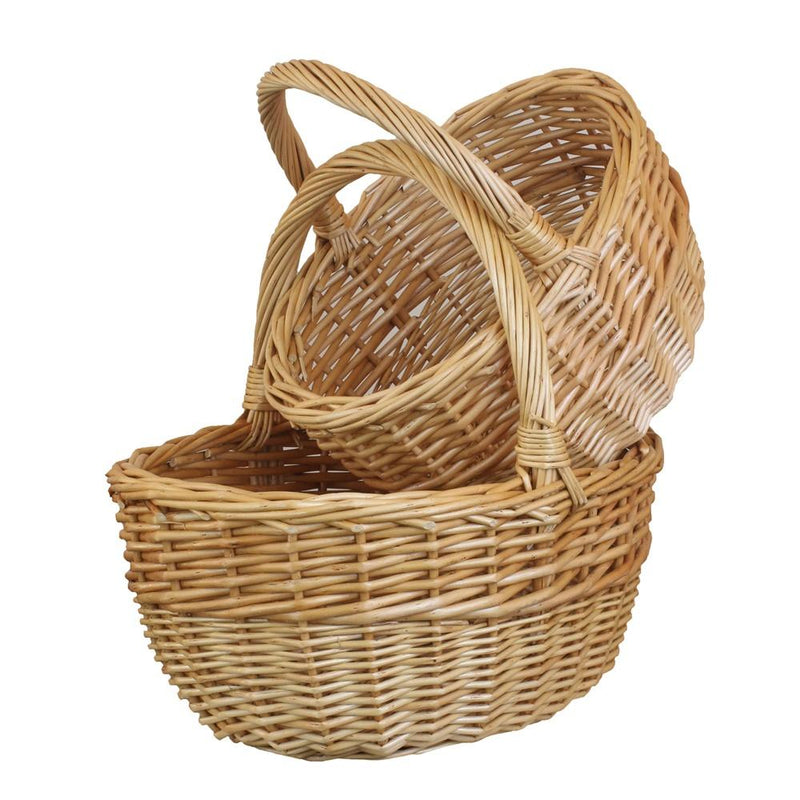 Buff Oval Wicker Shopper