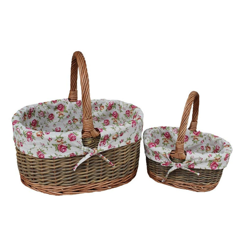 Garden Rose Cotton Lined Country Oval Wicker Shopping Baskets