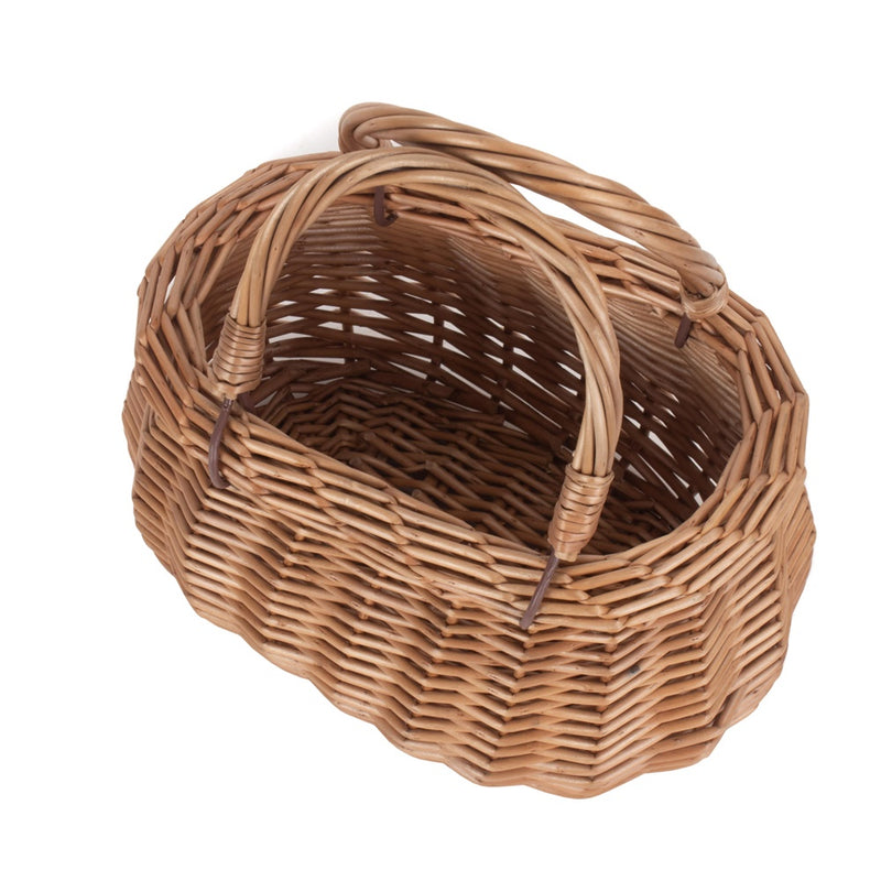 Childrens Light Steamed Wicker Swing Handled Coracle Shopping Basket