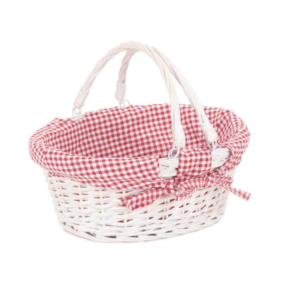 White Swing Handle Wicker Shopper with Red and White Checked Lining