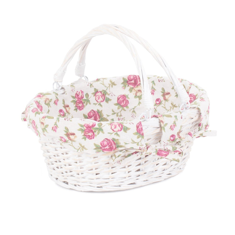 White Swing Handle Wicker Shopper with Garden Rose Lining