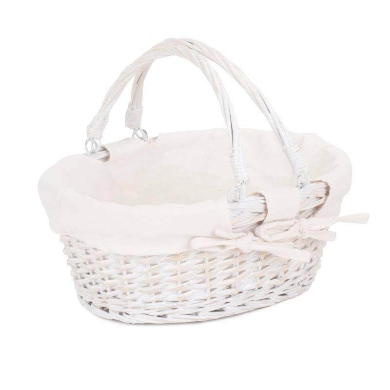 White Swing Handle Wicker Shopper with White Lining