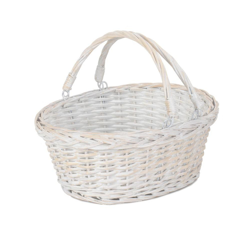 White Swing Handle Wicker Shopping Basket