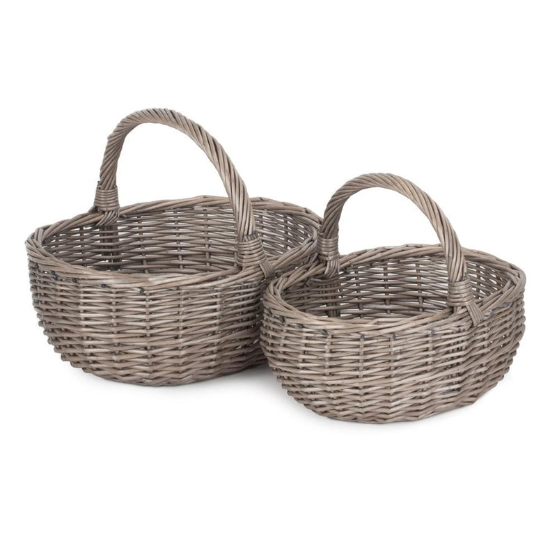 Unlined Antique Wash Wicker Bathroom Shopping Basket