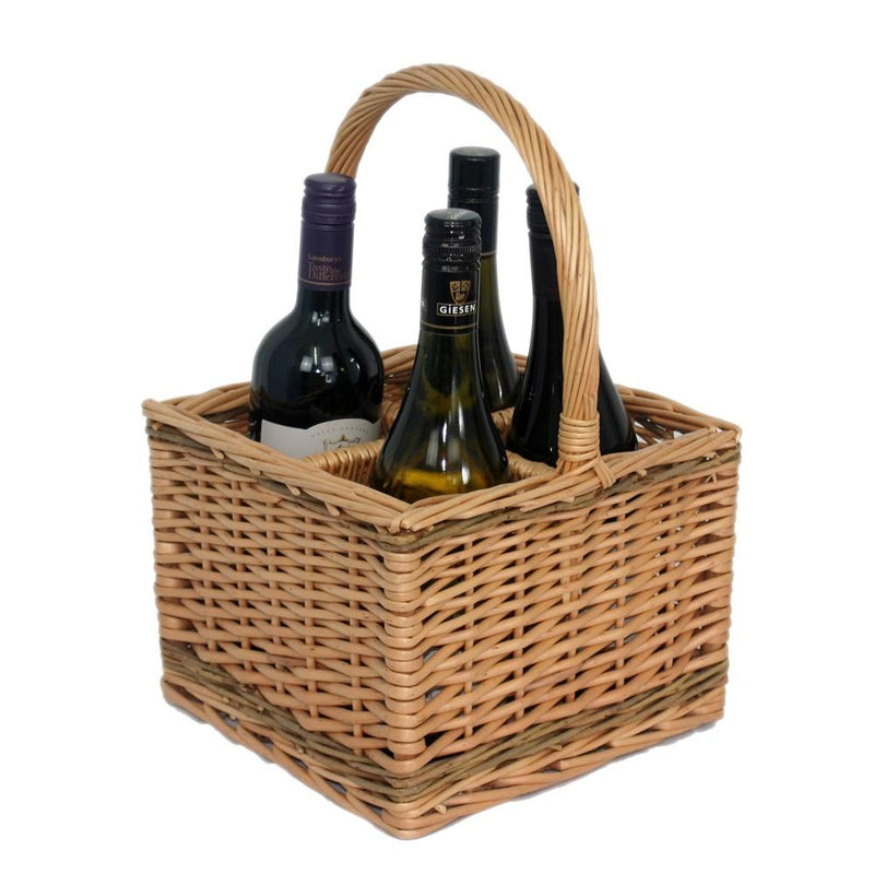 Full buff Unpeeled Wicker Bottle Drinks Basket