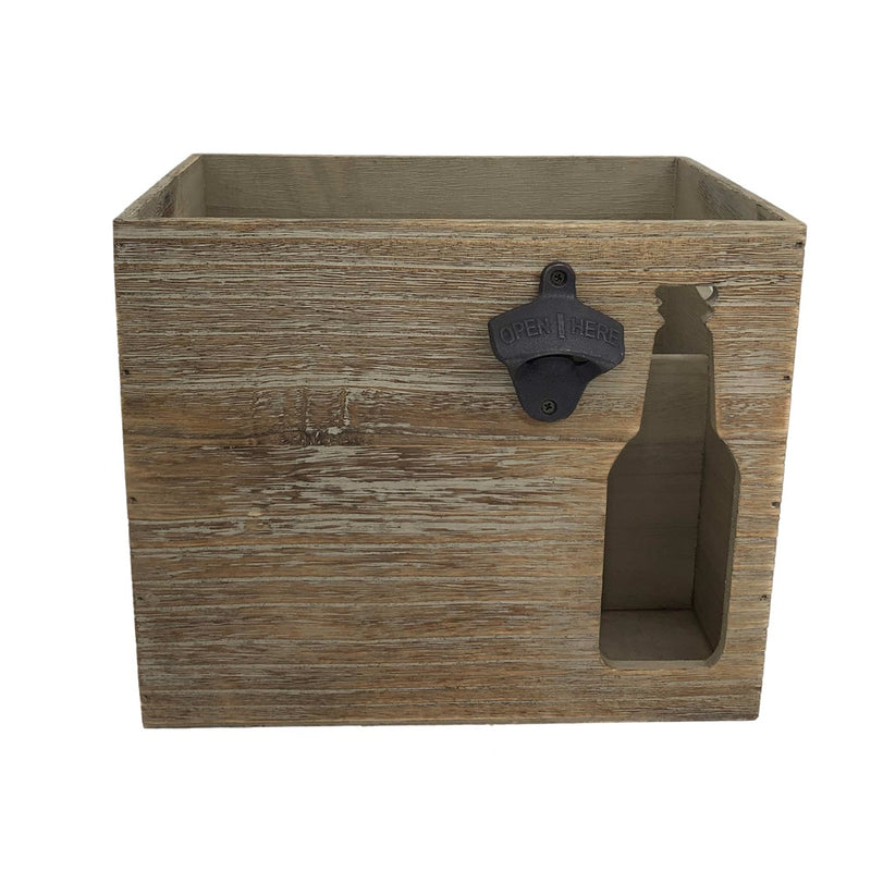 Six Beer Bottle Wooden Box Holder with Cut Out