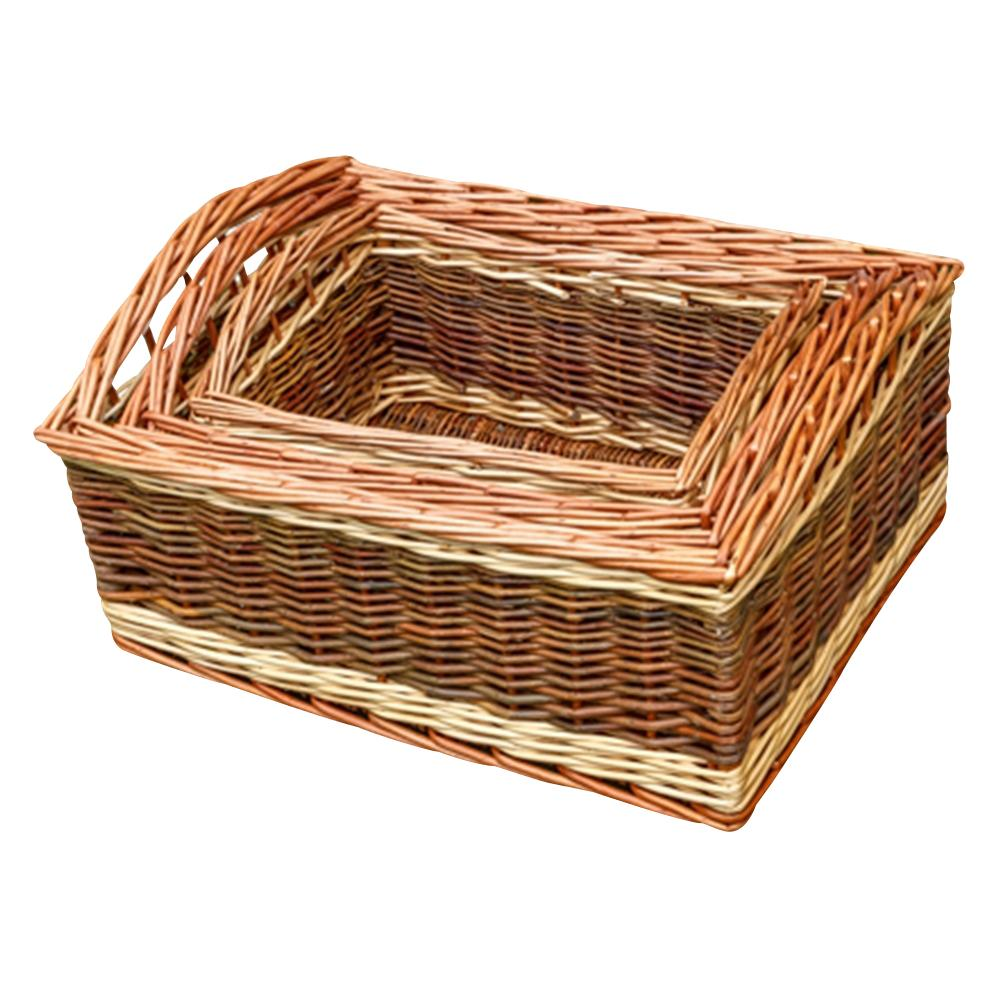 Set of 3 Two Tone Deep Galleon Wicker Trays