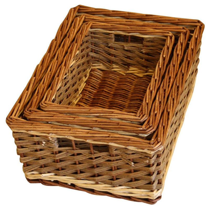 Set of 3 Bamford Wicker Serving Trays