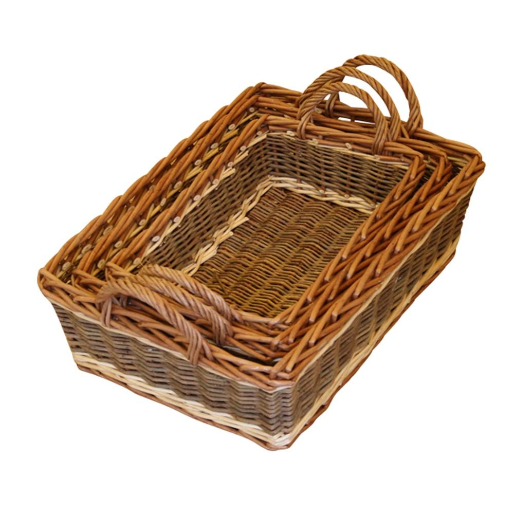 Set of 3 Malvern Wicker Serving Trays