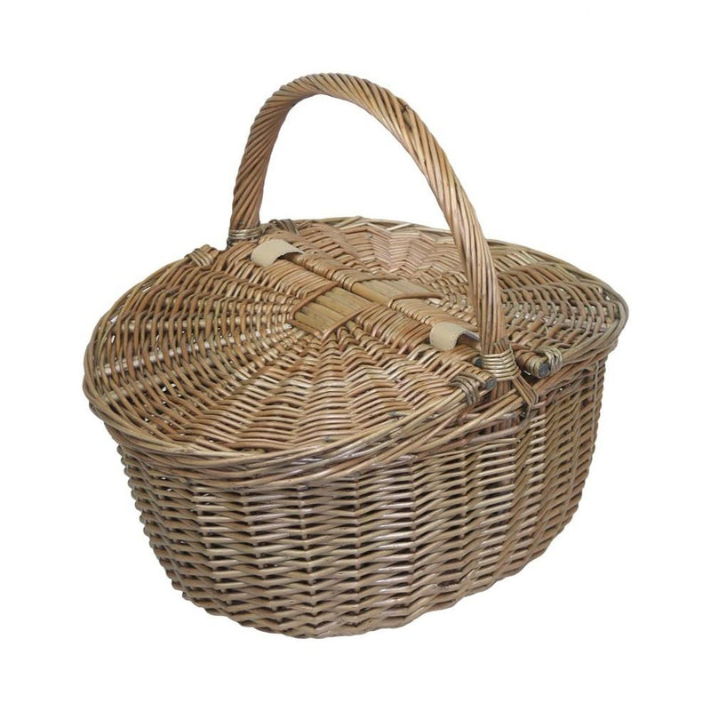 Antique Grey Oval Picnic Basket