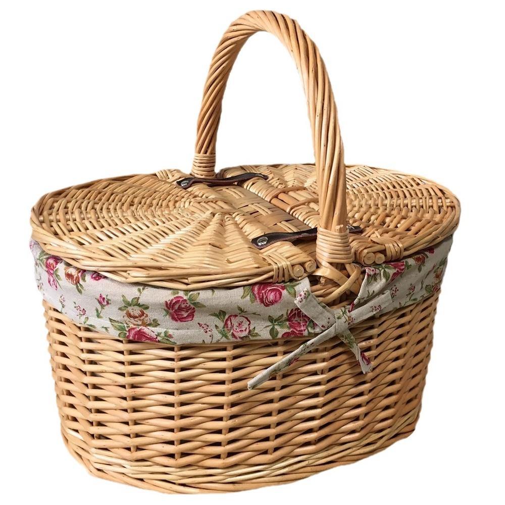 Buff Oval Butterfly Lidded Picnic Basket