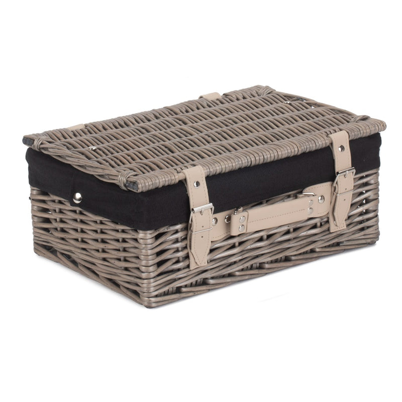 36cm Antique Wash Wicker Picnic Basket with Cotton Lining