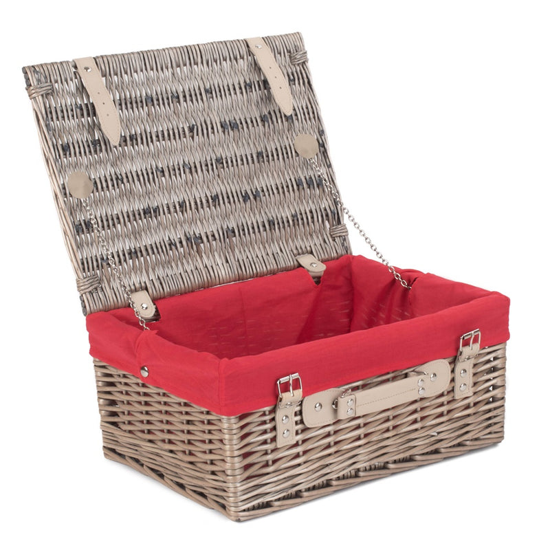 41cm Antique Wash Wicker Picnic Basket with Cotton Lining