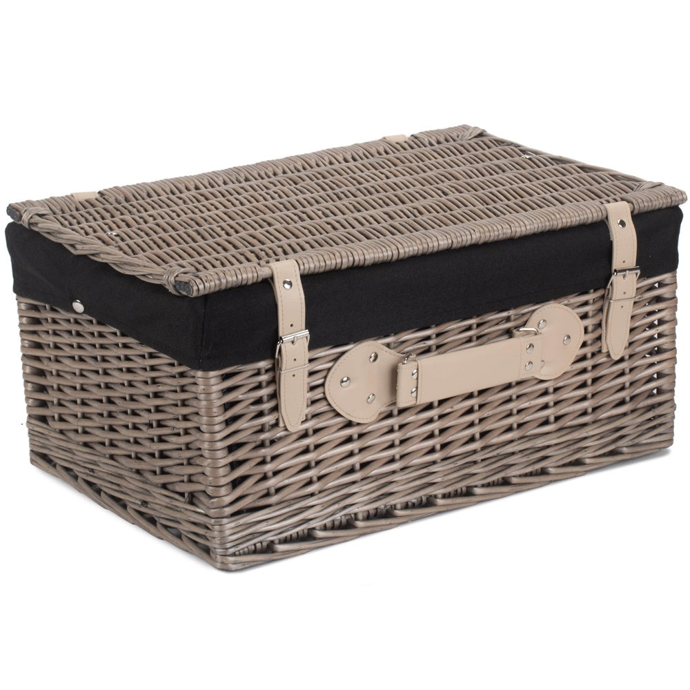51cm Antique Wash Wicker Picnic Basket with Cotton Lining