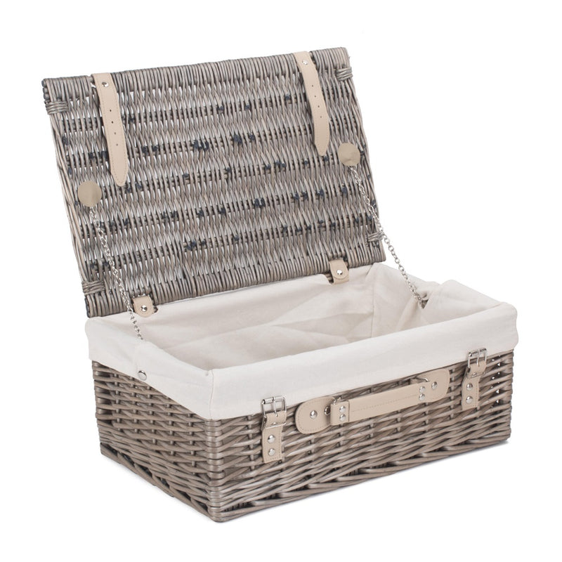 46cm Antique Wash Wicker Picnic Basket with Cotton Lining