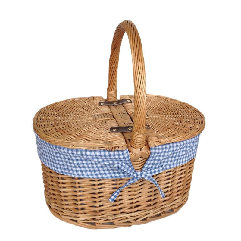 Gingham Lining Oval Butterfly Lidded Picnic Basket