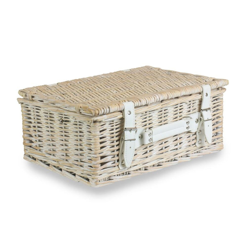 White Wash Empty Picnic Basket
