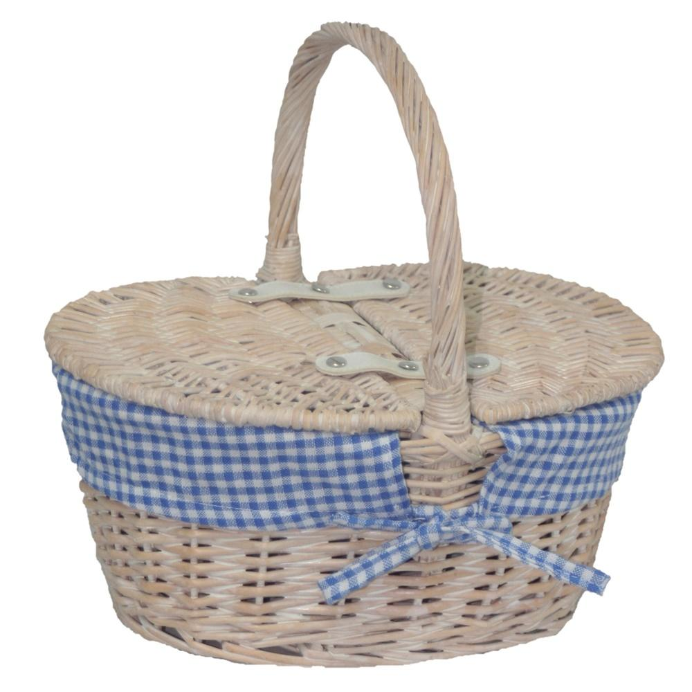 Childs White Wash Butterfly Lidded Wicker Basket