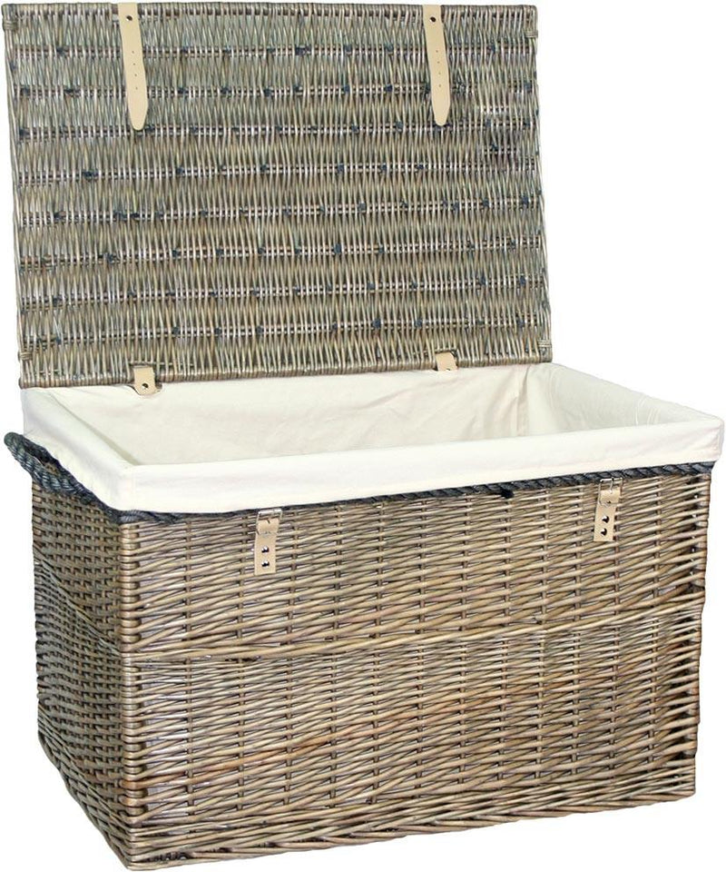 Large Antique Wash Storage Wicker Basket