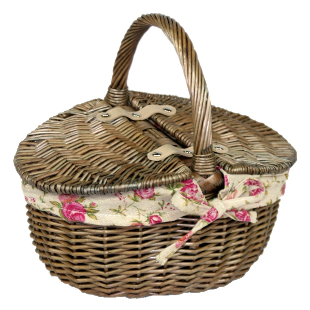 Small Antique Wash Double Lidded Oval Picnic Basket