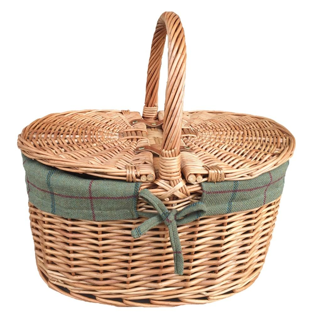 Large Light Steamed Oval Butterfly Lidded Picnic Basket