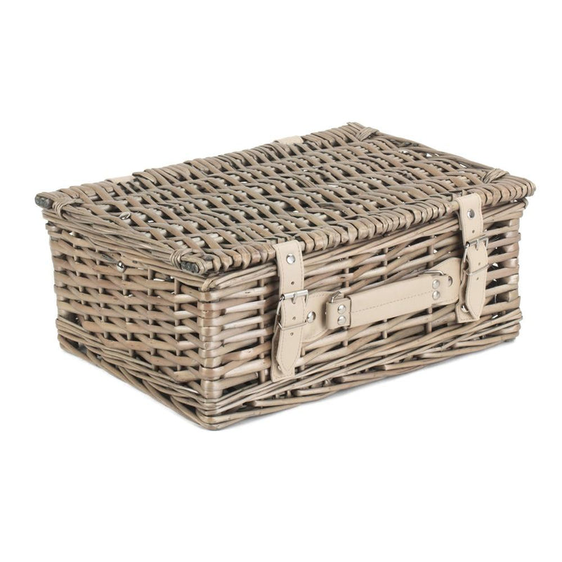 Antique Wash Split Willow Wicker Picnic Basket