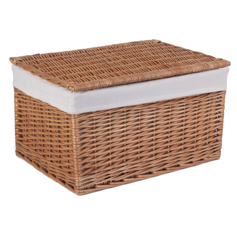 Light Steamed Cotton Lined Wicker Storage Basket
