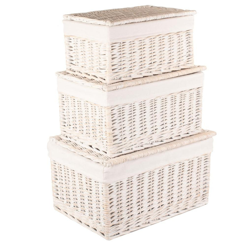 White Wash Steamed Cotton Lined Wicker Storage Basket