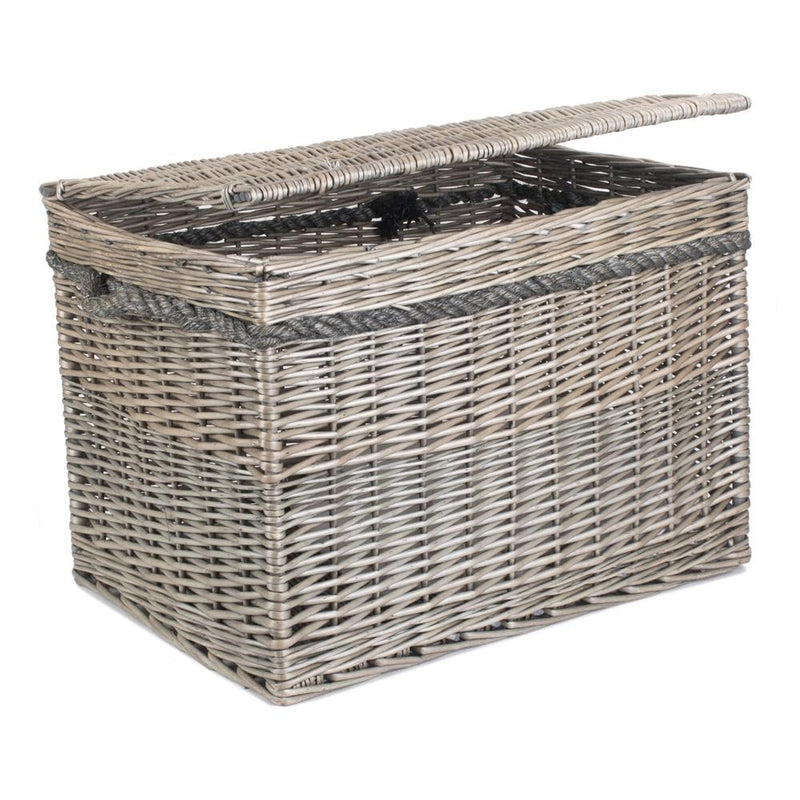 58cm Antique Wash Wicker Storage Basket